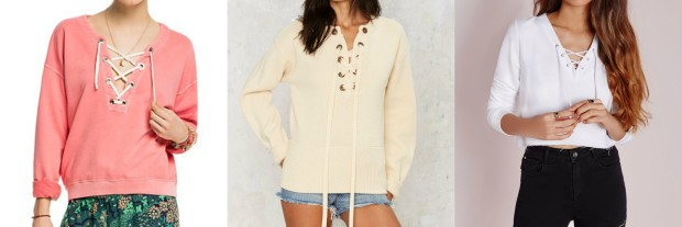Class to Night Out: Lace-Up Sweatshirt