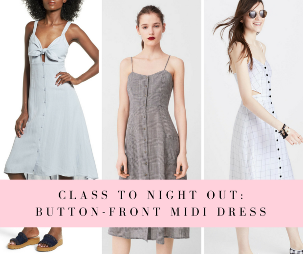 Class to Night Out: Button-Front Midi Dress
