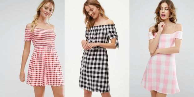 Class to Night Out: Gingham Off-Shoulder Dress