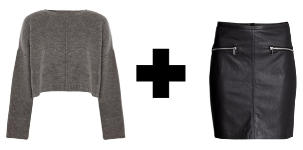 Easy Outfit Formulas: Chunky Knit Sweater + Faux Leather Skirt